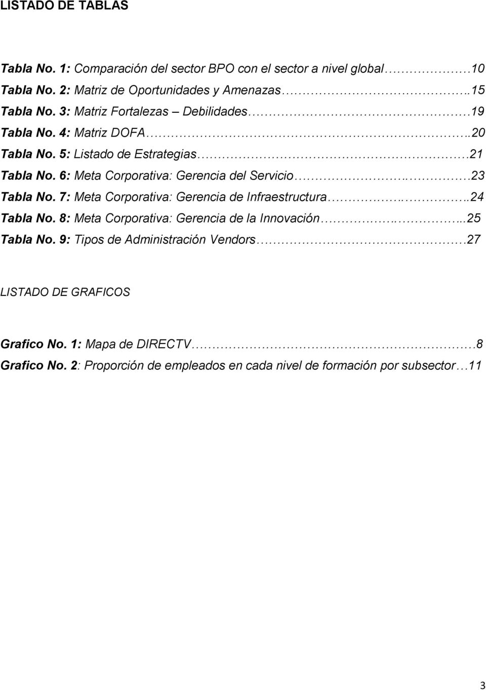 23 Tabla No. 7: Meta Corporativa: Gerencia de Infraestructura..24 Tabla No. 8: Meta Corporativa: Gerencia de la Innovación...25 Tabla No.