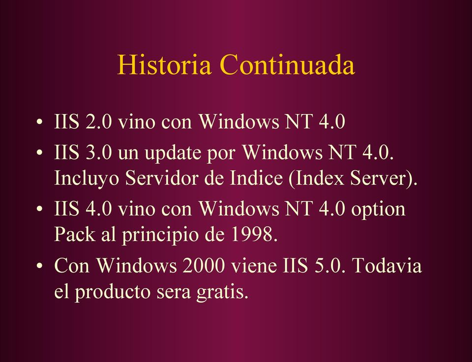 IIS 4.0 vino con Windows NT 4.0 option Pack al principio de 1998.