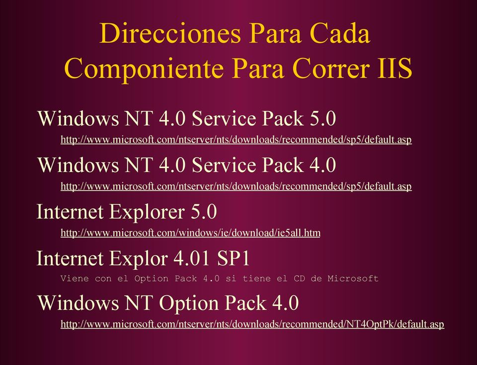 com/ntserver/nts/downloads/recommended/sp5/default.asp Internet Explorer 5.0 http://www.microsoft.com/windows/ie/download/ie5all.