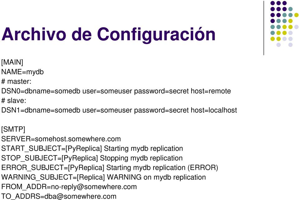 com START_SUBJECT=[PyReplica] Starting mydb replication STOP_SUBJECT=[PyReplica] Stopping mydb replication