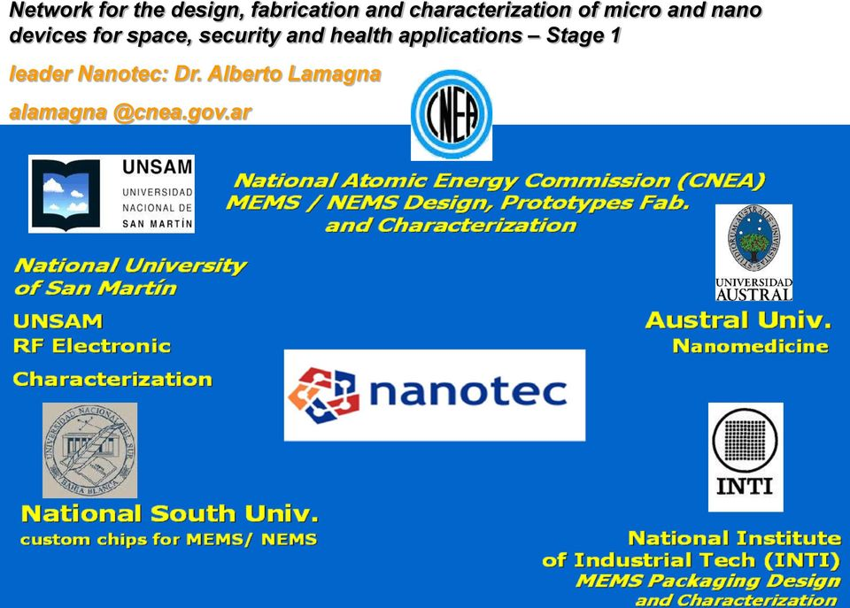 space, security and health applications Stage 1