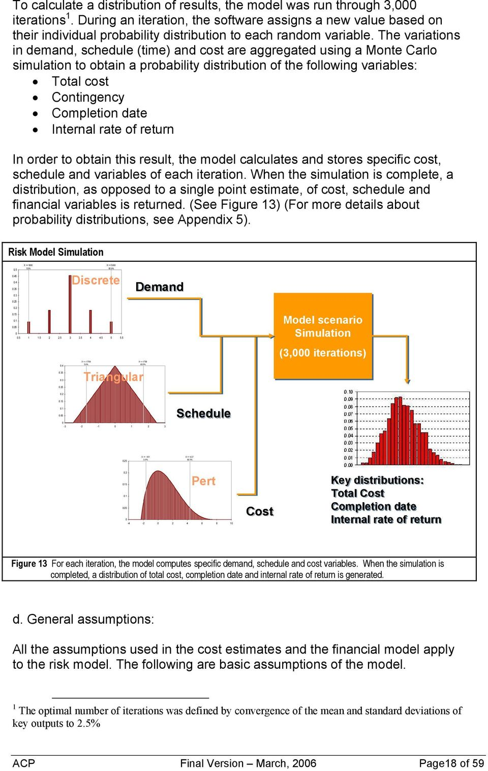 The variations in demand, schedule (time) and cost are aggregated using a Monte Carlo simulation to obtain a probability distribution of the following variables: Total cost Contingency Completion