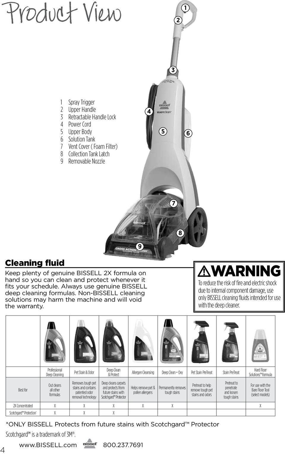 Non-BISSELL cleaning solutions may harm the machine and will void the warranty.