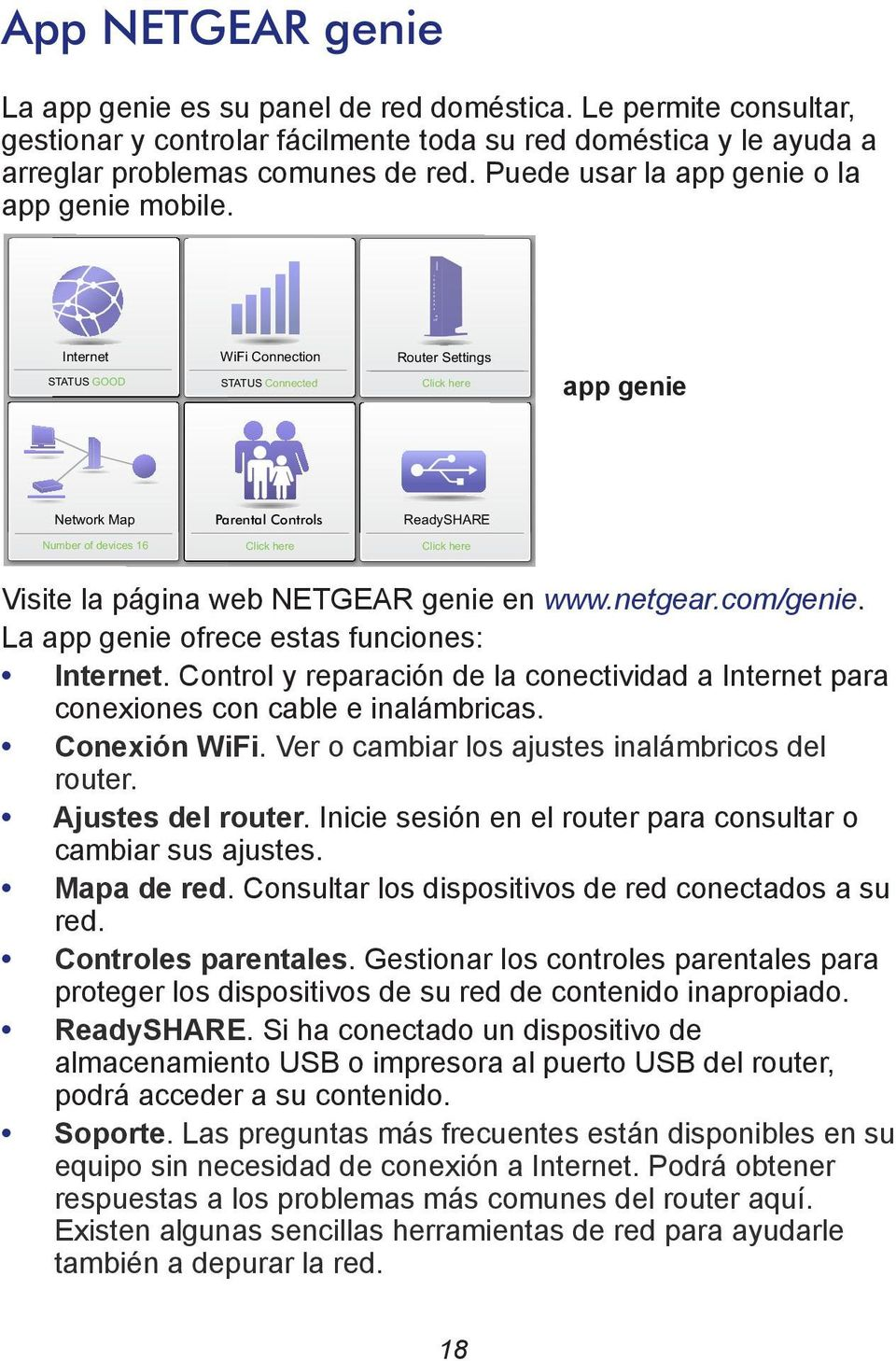 Internet STATUS GOOD WiFi Connection STATUS Connected Router Settings Click here app genie Network Map Parental Controls ReadySHARE Number of devices 16 Click here Click here Visite la página web