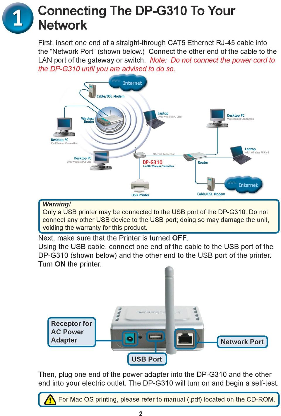 Only a USB printer may be connected to the USB port of the DP-G310. Do not connect any other USB device to the USB port; doing so may damage the unit, voiding the warranty for this product.