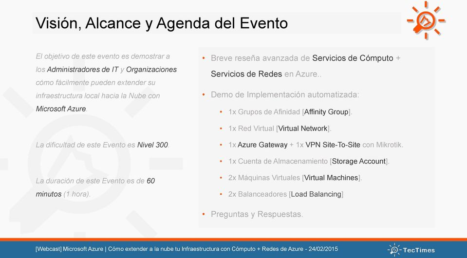 . Demo de Implementación automatizada: 1x Grupos de Afinidad [Affinity Group]. 1x Red Virtual [Virtual Network]. La dificultad de este Evento es Nivel 300.
