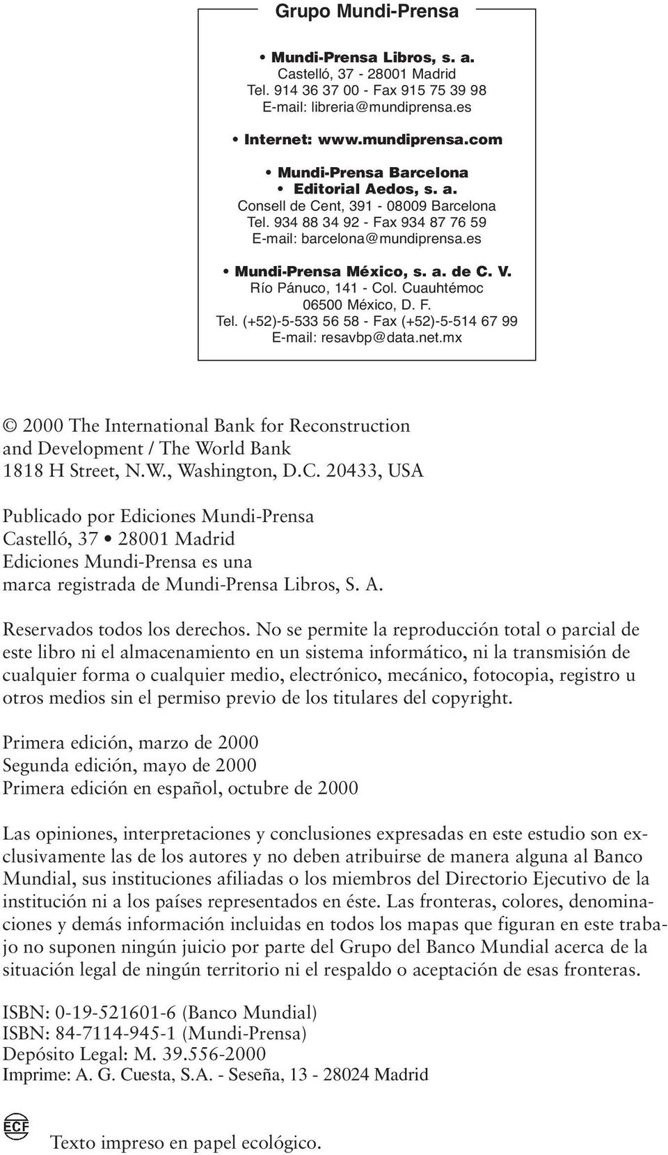 net.mx 2000 The International Bank for Reconstruction and Development / The World Bank 1818 H Street, N.W., Washington, D.C.