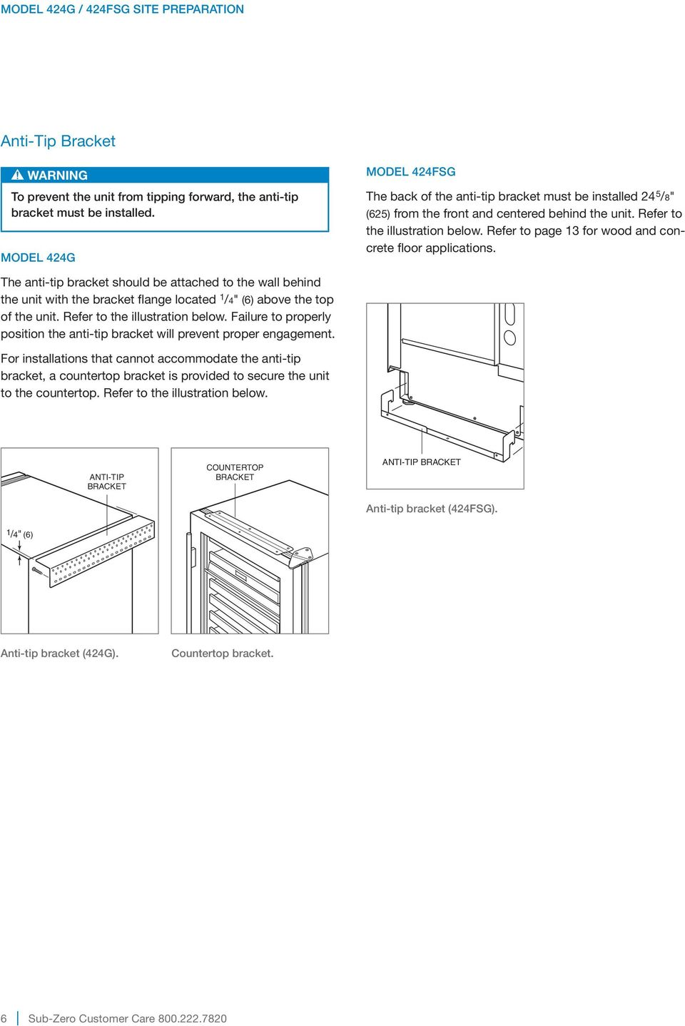 "Refer to page 13 for wood and concrete floor applications. The anti-tip bracket should be attached to the wall behind the unit with the bracket flange located 1 /4"" (6) above the top of the unit."