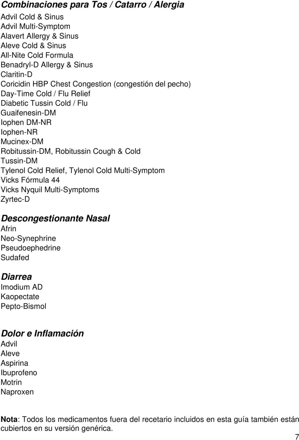Tylenol Cold Relief, Tylenol Cold Multi-Symptom Vicks Fórmula 44 Vicks Nyquil Multi-Symptoms Zyrtec-D Descongestionante Nasal Afrin Neo-Synephrine Pseudoephedrine Sudafed Diarrea Imodium AD