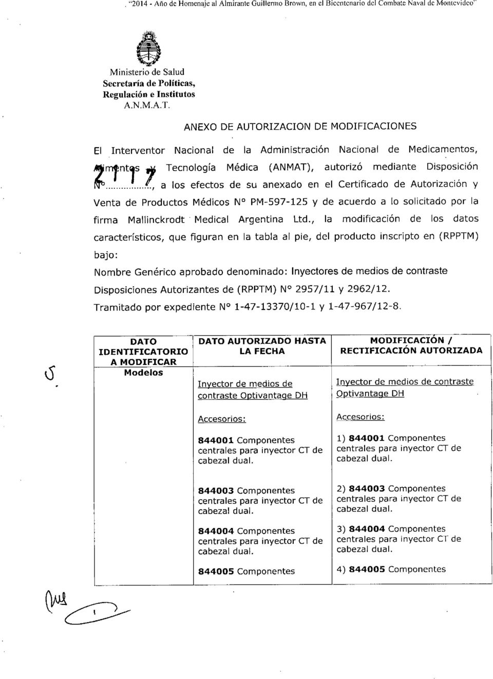 solicitado por la firma Mallinckrodt. Medical Argentina Ltd.