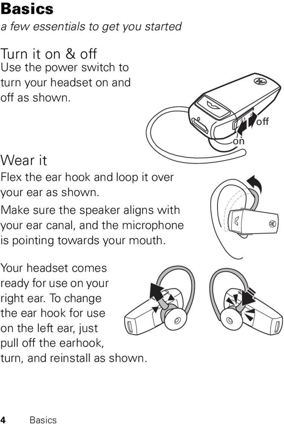 Make sure the speaker aligns with your ear canal, and the microphone is pointing towards your mouth.