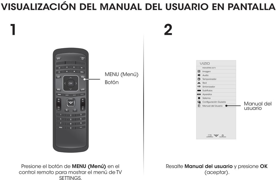 Manual del Usuario Input Wide CC Manual del usuario Sleep Timer Picture Audio Network Settings Help Presione el botón