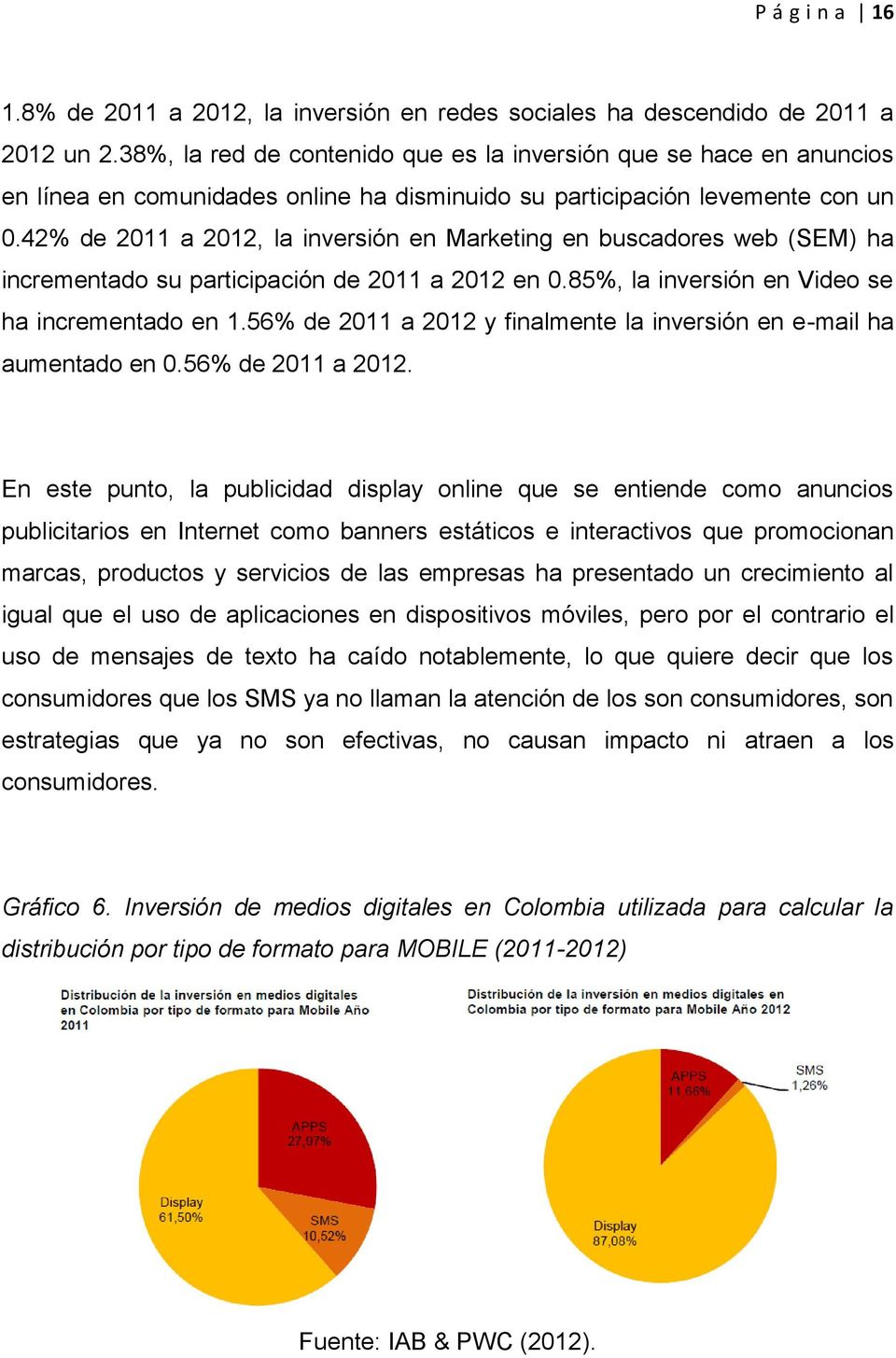 42% de 2011 a 2012, la inversión en Marketing en buscadores web (SEM) ha incrementado su participación de 2011 a 2012 en 0.85%, la inversión en Video se ha incrementado en 1.
