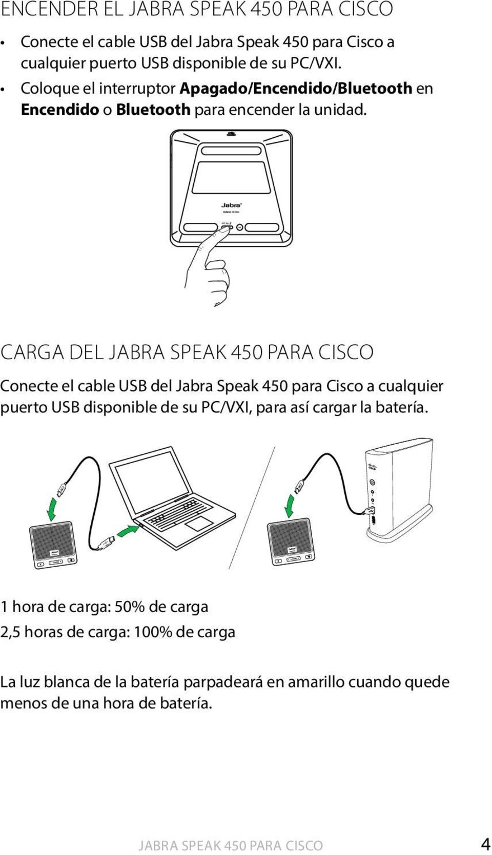 Carga del Jabra Speak 450 para Cisco Conecte el cable USB del Jabra Speak 450 para Cisco a cualquier puerto USB disponible de su PC/VXI,