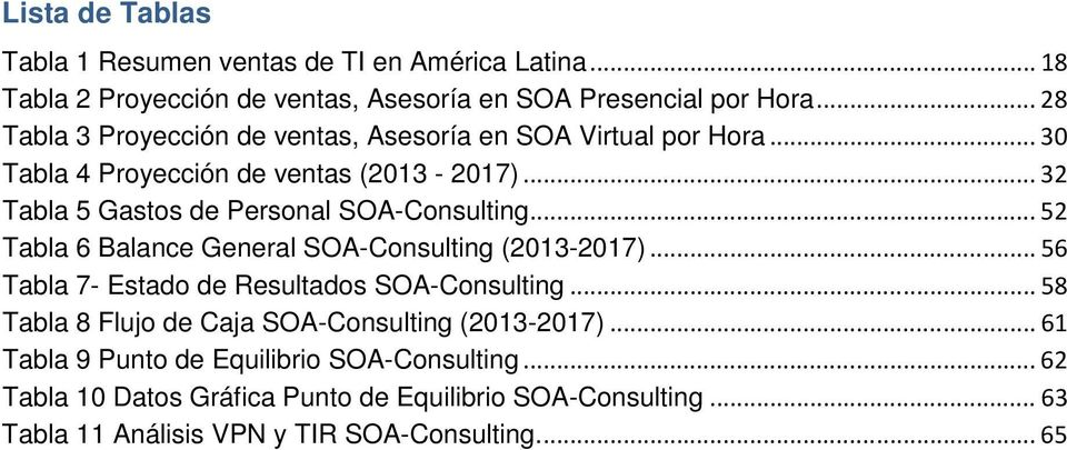 .. 32 Tabla 5 Gastos de Personal SOA-Consulting... 52 Tabla 6 Balance General SOA-Consulting (2013-2017)... 56 Tabla 7- Estado de Resultados SOA-Consulting.