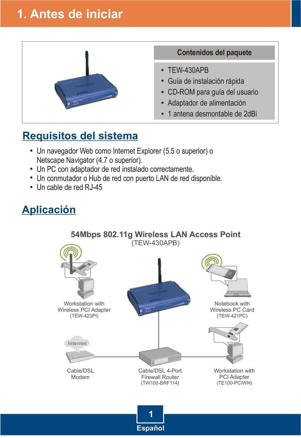 Un conmutador o Hub de red con puerto LAN de red disponible. Un cable de red RJ-45 54Mbps 802.