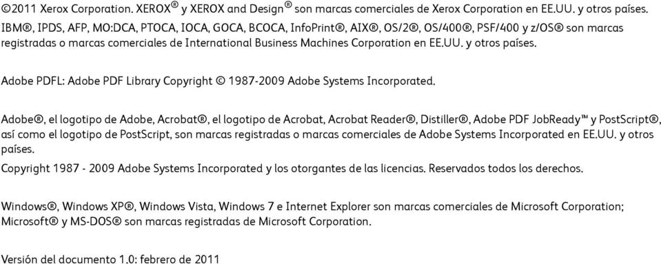 y otros países. Adobe PDFL: Adobe PDF Library Copyright 1987-2009 Adobe Systems Incorporated.