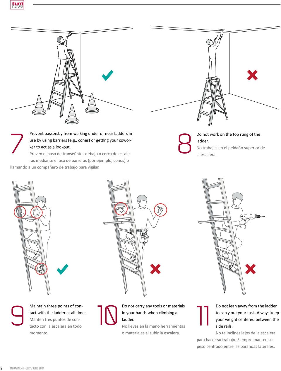 No trabajes en el peldaño superior de la escalera. 9 10 11 Maintain three points of contact with the ladder at all times. Manten tres puntos de contacto con la escalera en todo momento.