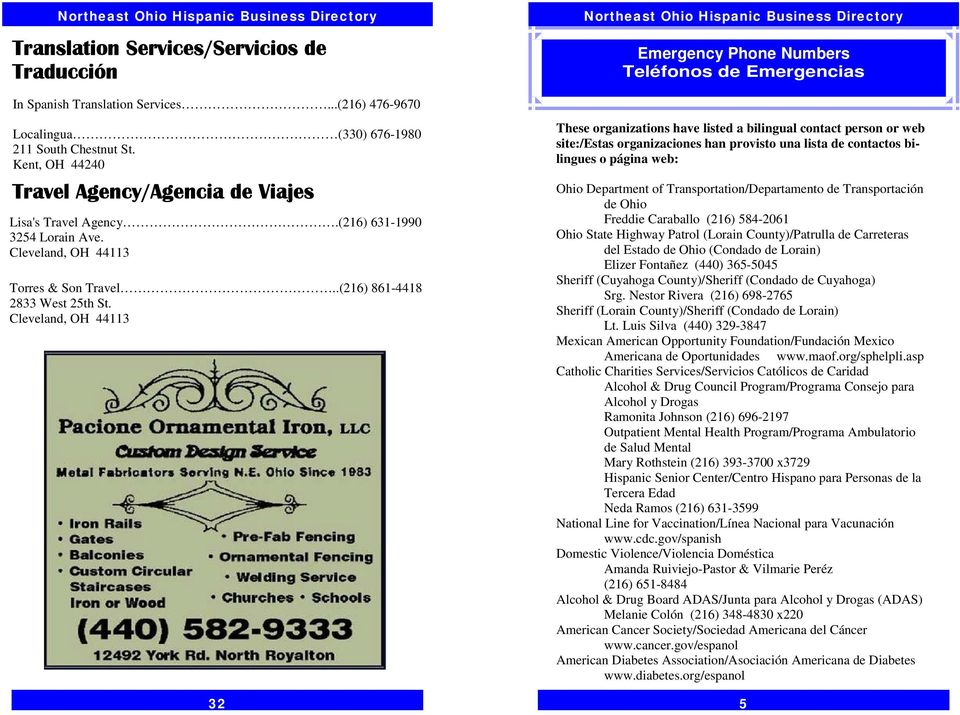 32 These organizations have listed a bilingual contact person or web site:/estas organizaciones han provisto una lista de contactos bilingues o página web: Ohio Department of