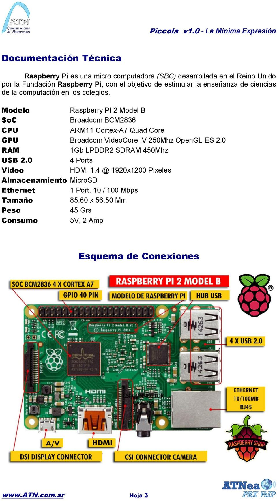 Modelo Raspberry PI 2 Model B SoC Broadcom BCM2836 CPU ARM11 Cortex-A7 Quad Core GPU Broadcom VideoCore IV 250Mhz OpenGL ES 2.