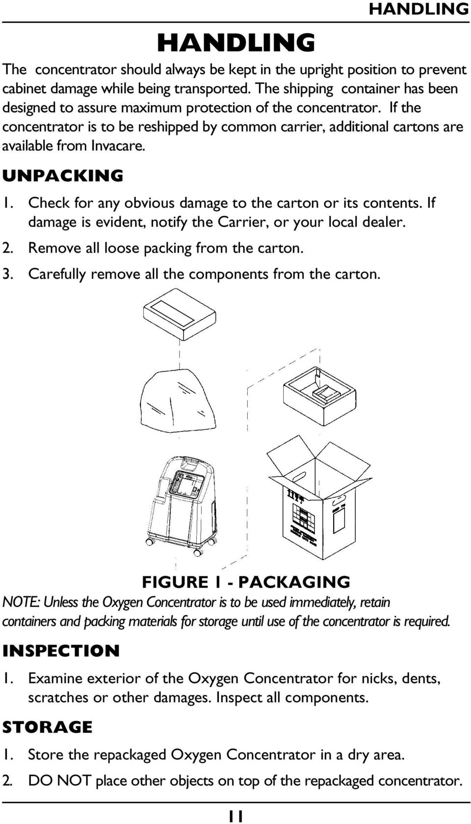 UNPACKING 1. Check for any obvious damage to the carton or its contents. If damage is evident, notify the Carrier, or your local dealer. 2. Remove all loose packing from the carton. 3.