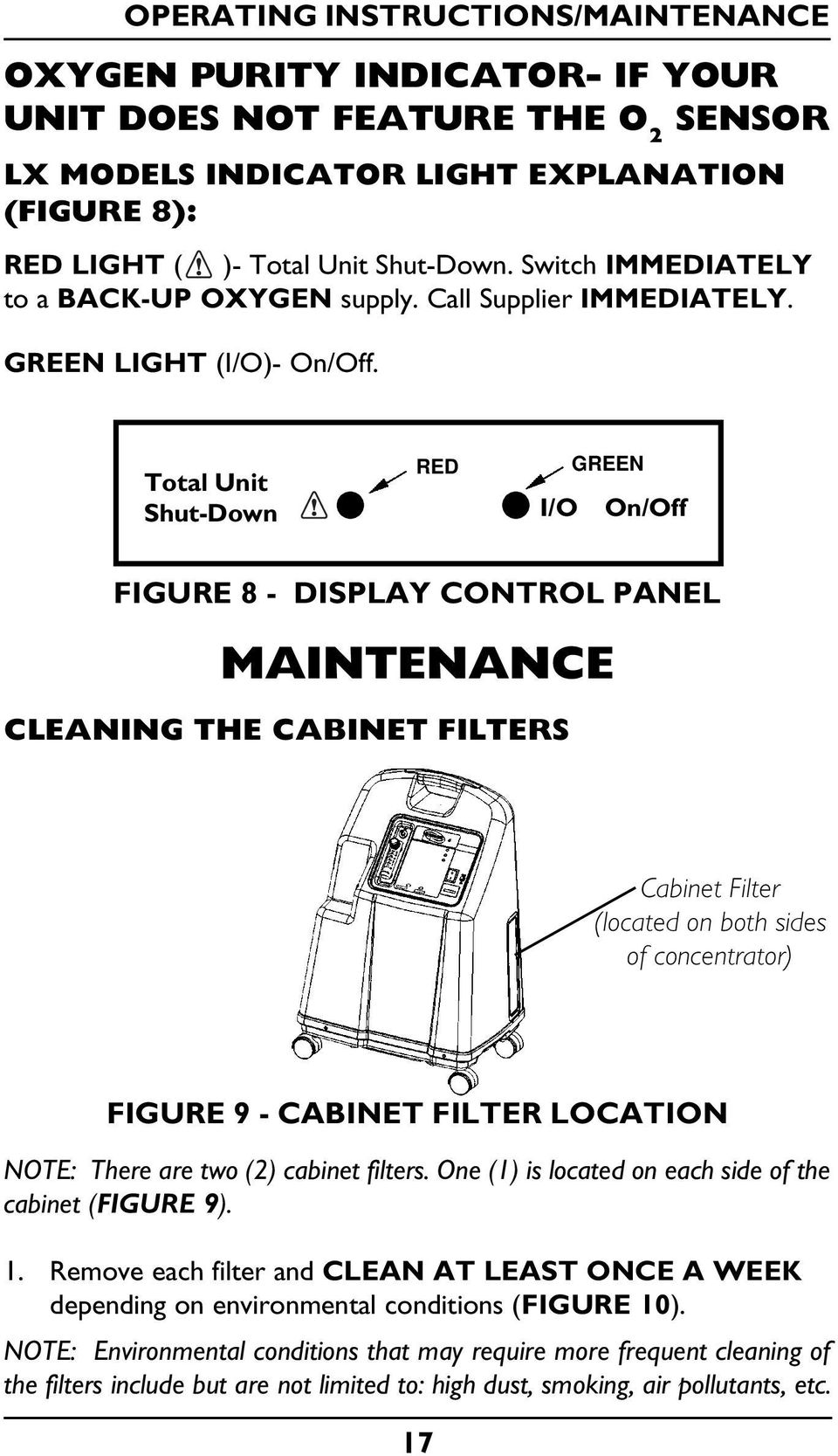 Total Unit Shut-Down RED I/O GREEN On/Off FIGURE 8 - DISPLAY CONTROL PANEL MAINTENANCE CLEANING THE CABINET FILTERS Cabinet Filter (located on both sides of concentrator) FIGURE 9 - CABINET FILTER