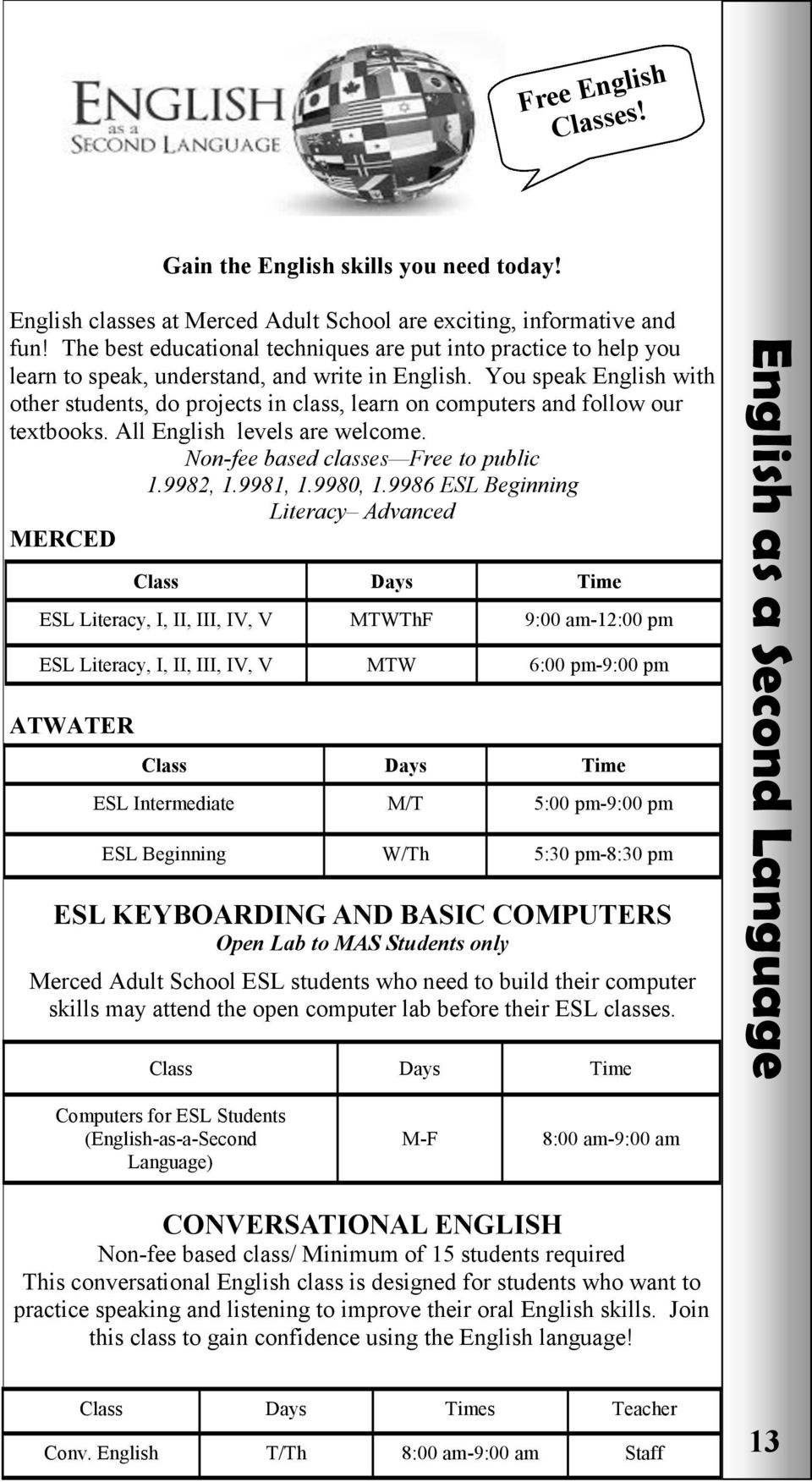 You speak English with other students, do projects in class, learn on computers and follow our textbooks. All English levels are welcome. Non-fee based classes Free to public 1.9982, 1.9981, 1.