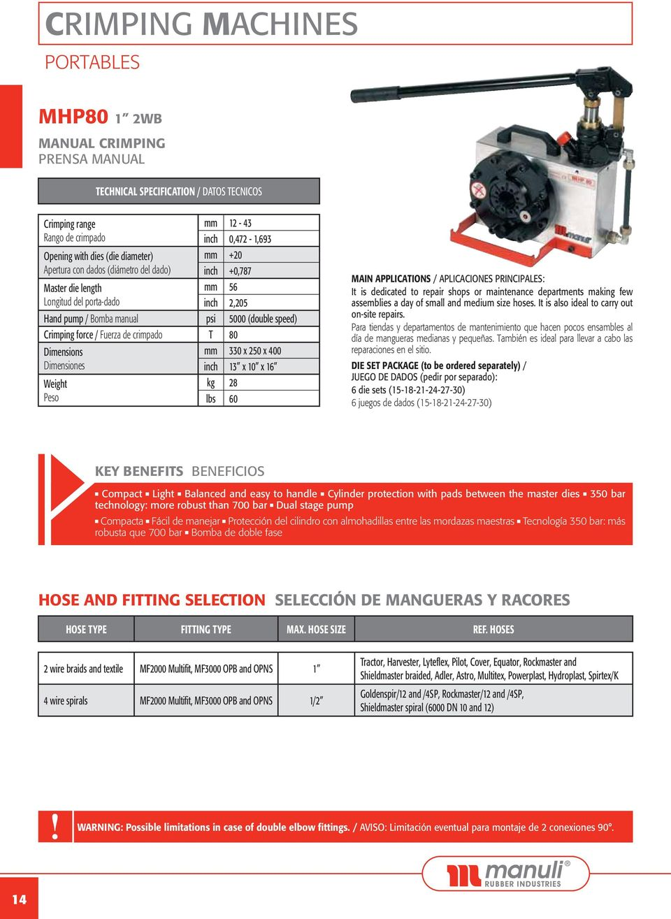 crimpado T 80 Dimensions Dimensiones Weight Peso mm 330 x 250 x 400 inch 13 x 10 x 16 kg 28 lbs 60 MAIN APPLICATIONS / APLICACIONES PRINCIPALES: It is dedicated to repair shops or maintenance