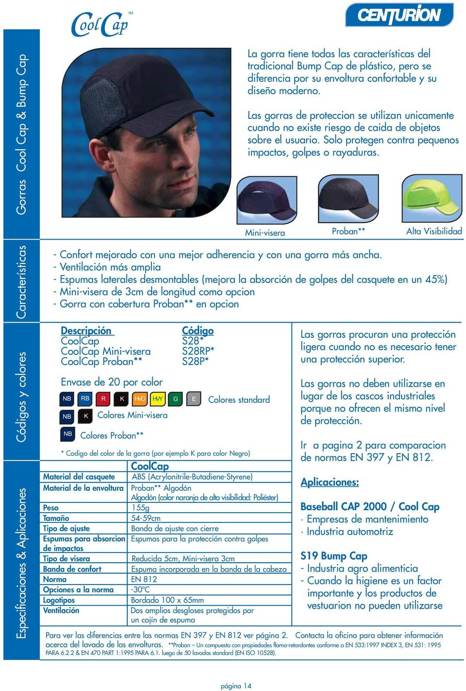 Código CoolCap S28* CoolCap Mini-visera S28RP* CoolCap Proban** S28P* Envase de 20 por color NB NB NB RB R K K Colores Mini-visera Colores Proban** HVO HVY G E Colores standard * Codigo del color de