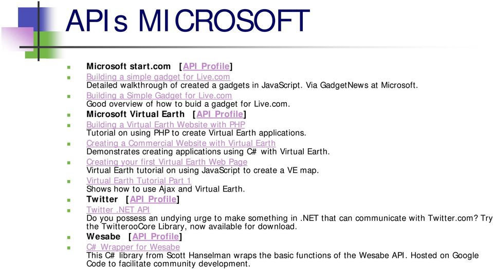 Creating a Commercial Website with Virtual Earth Demonstrates creating applications using C# with Virtual Earth.