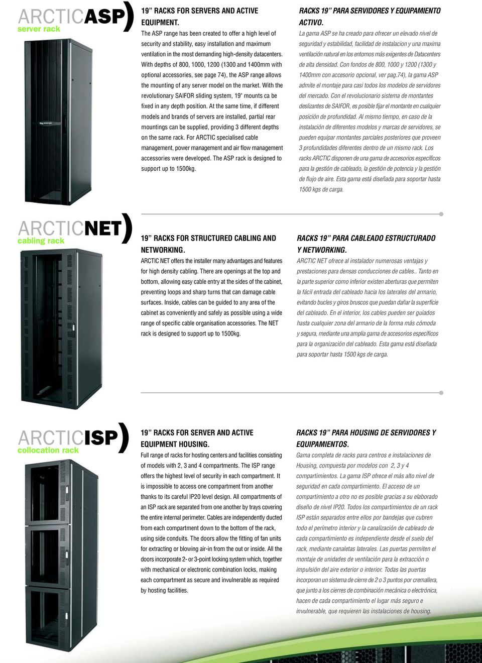 With depths of, 1000, 1200 (1300 and 1400mm with optional accessories, see page 74), the ASP range allows the mounting of any server model on the market.