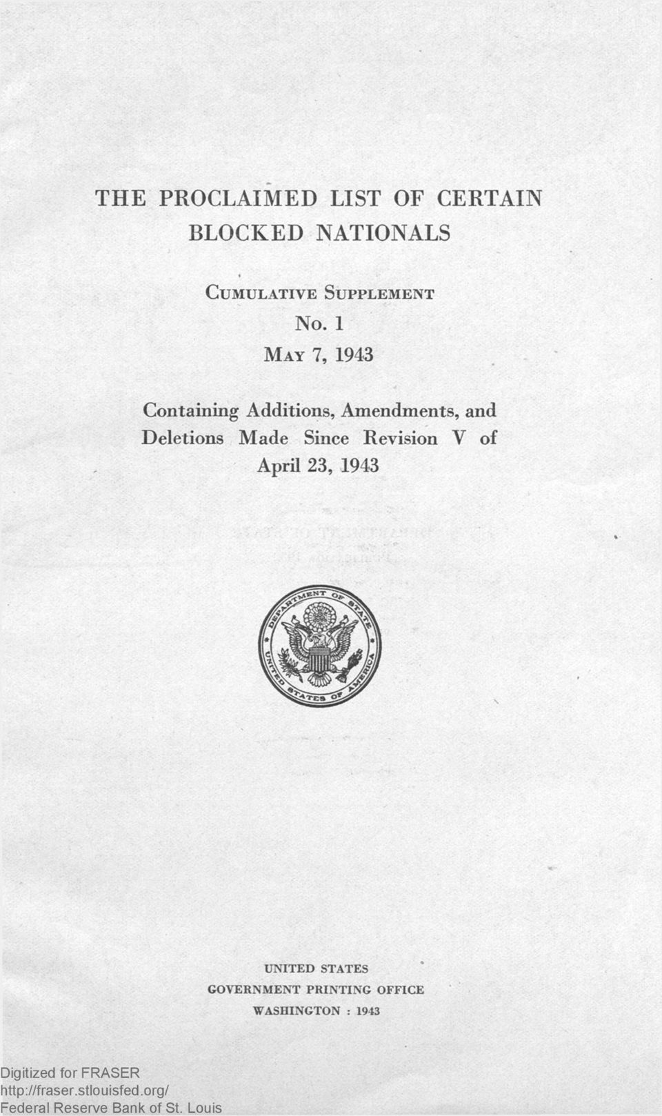 1 MAY 7, 1943 Containing Additions, Amendments, and Made