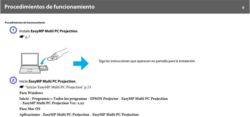 "s ""Iniciar EasyMP Multi PC Projection"" p."