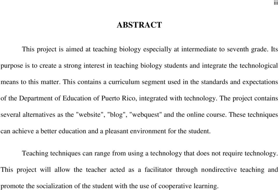This contains a curriculum segment used in the standards and expectations of the Department of Education of Puerto Rico, integrated with technology.