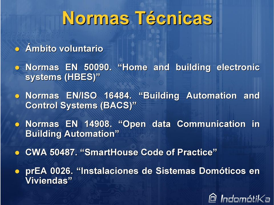 Building Control Systems (BACS) Automation and Normas EN 14908.