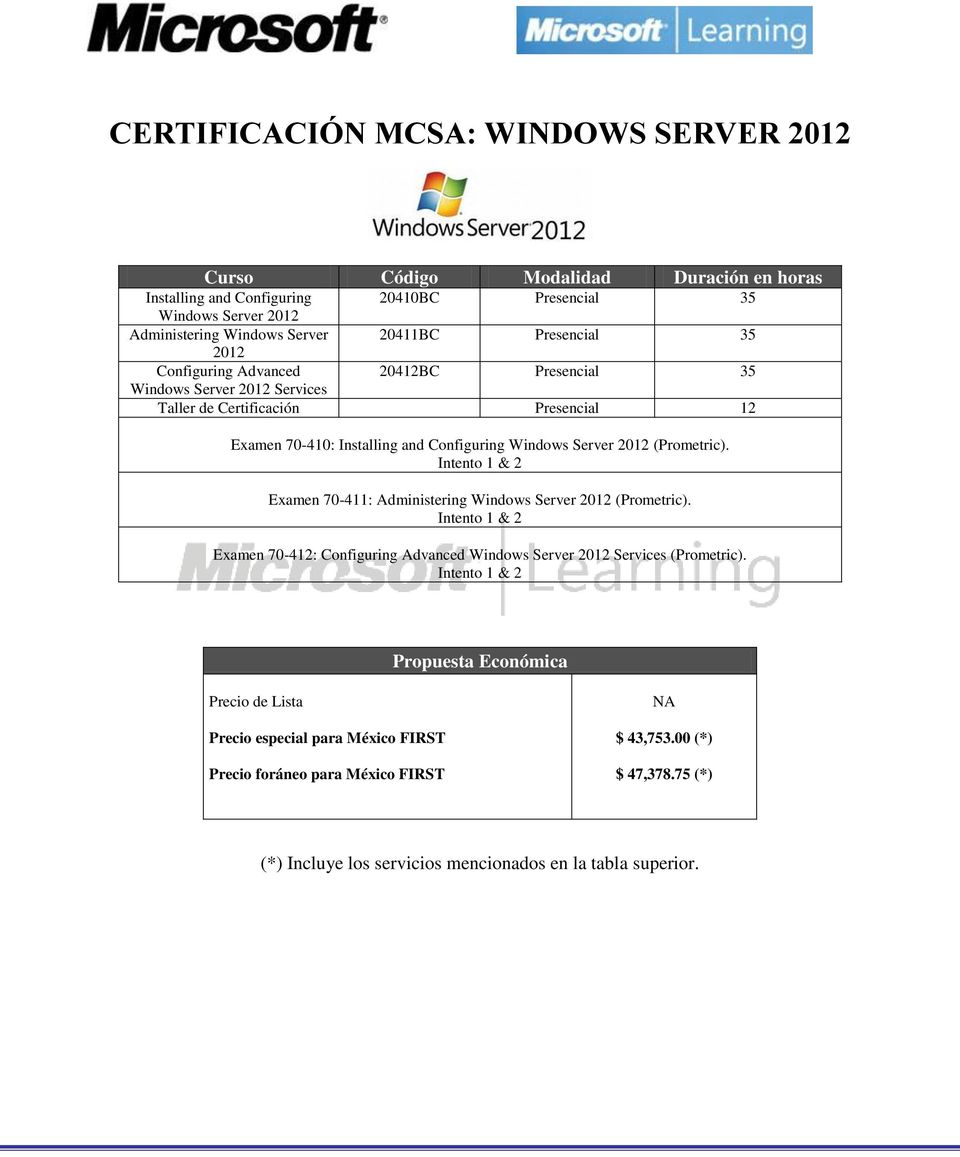 Presencial 12 Examen 70-410: Installing and Configuring Windows Server 2012 (Prometric).