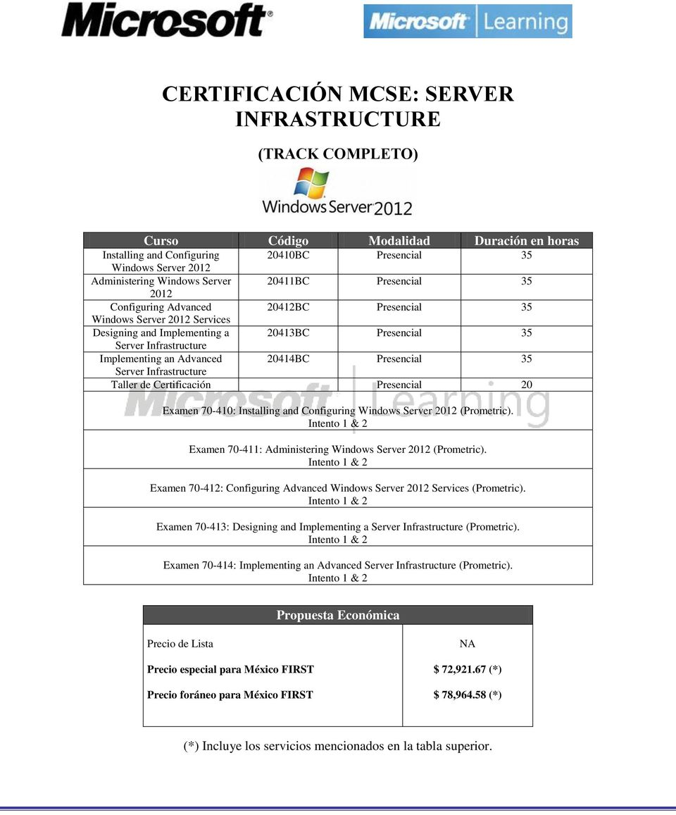Infrastructure Taller de Certificación Presencial 20 Examen 70-410: Installing and Configuring Windows Server 2012 (Prometric). Examen 70-411: Administering Windows Server 2012 (Prometric).
