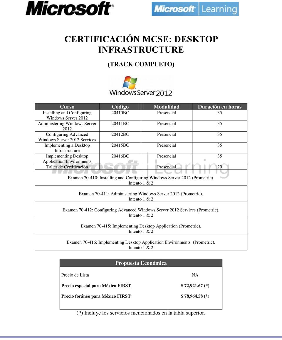 Certificación Presencial 20 Examen 70-410: Installing and Configuring Windows Server 2012 (Prometric). Examen 70-411: Administering Windows Server 2012 (Prometric).