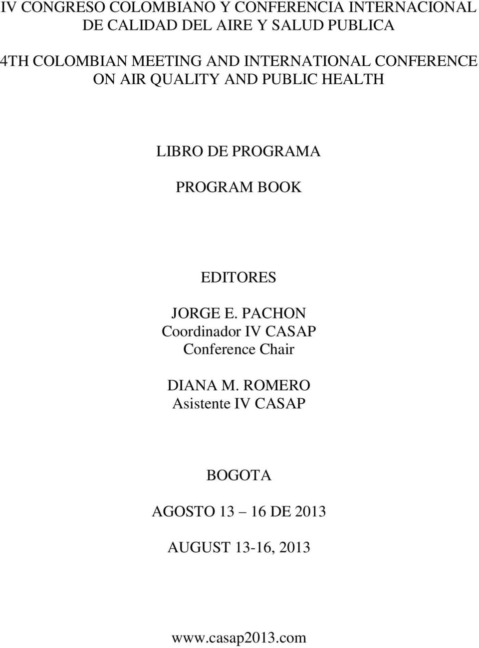 PROGRAMA PROGRAM BOOK EDITORES JORGE E.