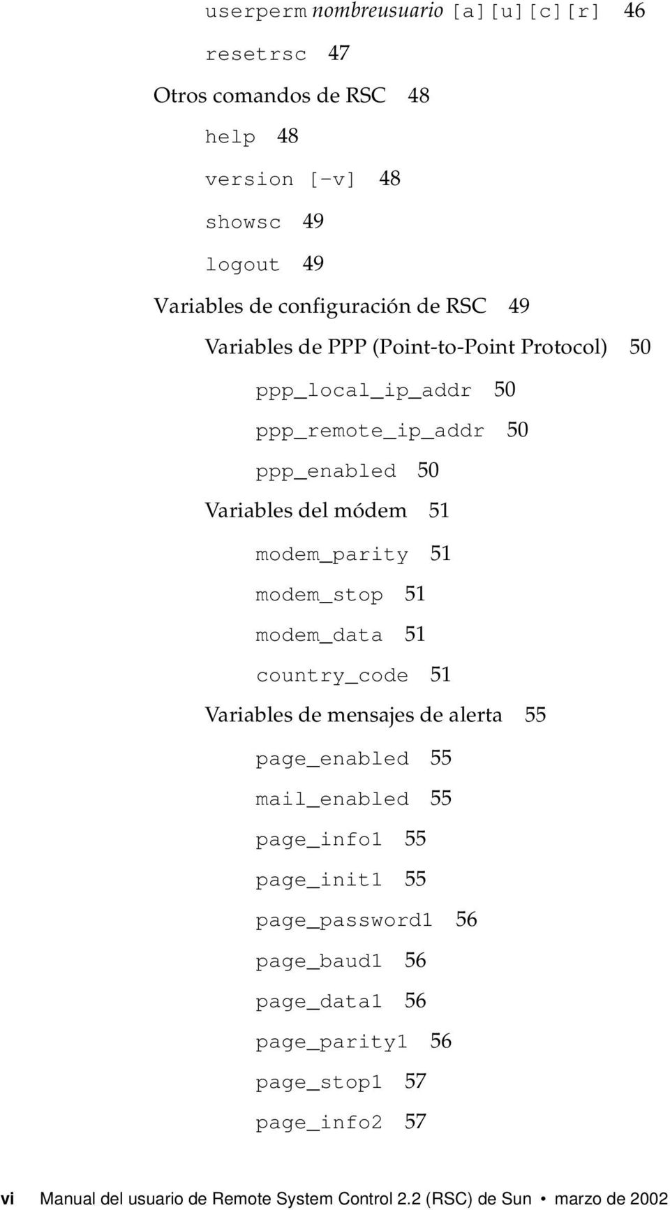 modem_stop 51 modem_data 51 country_code 51 Variables de mensajes de alerta 55 page_enabled 55 mail_enabled 55 page_info1 55 page_init1 55