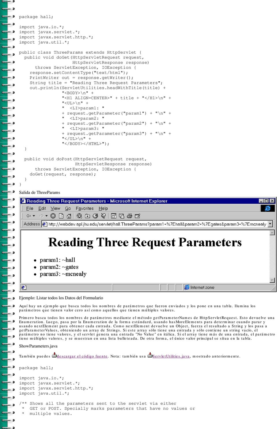 "setcontenttype(""text/html""); PrintWriter out = response.getwriter(); String title = ""Reading Three Request Parameters""; out.println(servletutilities."