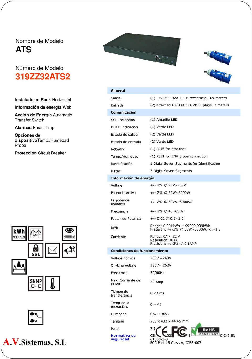 9 meters (2) attached IEC309 32A 2P+E plugs, 3 meters (2) Verde LED (2) Verde LED (1) RJ45 for Ethernet (1) RJ11 for ENV probe connection 1 Digits Seven Segments for Identification 3 Digits Seven