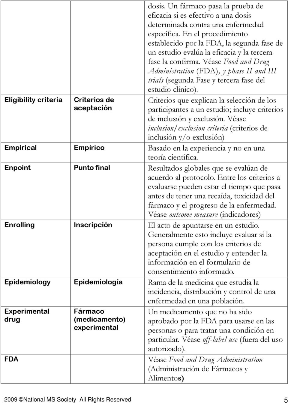 Véase Food and Drug Administration (FDA), y phase II and III trials (segunda Fase y tercera fase del estudio clínico).