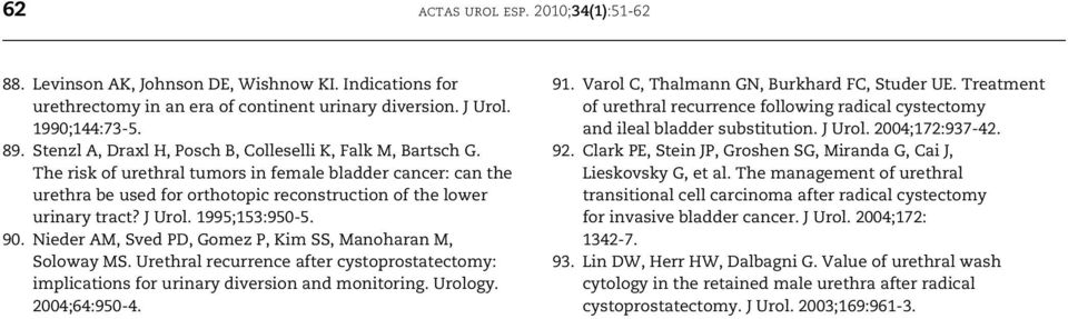 J Urol. 1995;153:950-5. 90. Nieder AM, Sved PD, Gomez P, Kim SS, Manoharan M, Soloway MS. Urethral recurrence after cystoprostatectomy: implications for urinary diversion and monitoring. Urology.