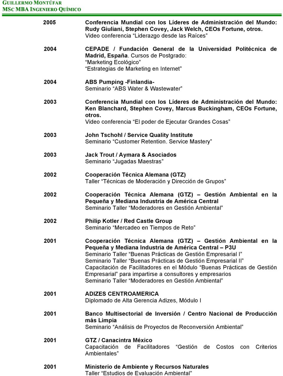 Cursos de Postgrado: Marketing Ecológico Estrategias de Marketing en Internet 2004 ABS Pumping -Finlandia- Seminario ABS Water & Wastewater 2003 Conferencia Mundial con los Líderes de Administración