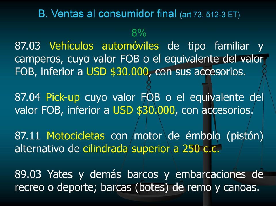 000, con sus accesorios. 87.04 Pick-up cuyo valor FOB o el equivalente del valor FOB, inferior a USD $30.