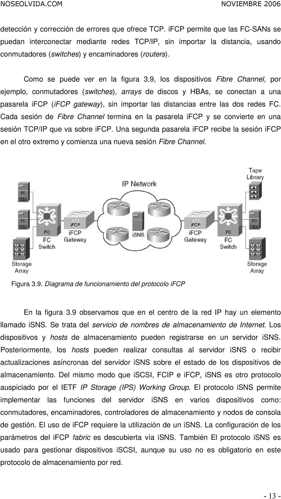 9, los dispositivos Fibre Channel, por ejemplo, conmutadores (switches), arrays de discos y HBAs, se conectan a una pasarela ifcp (ifcp gateway), sin importar las distancias entre las dos redes FC.