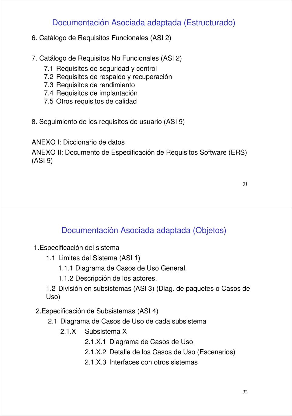 Seguimiento de los requisitos de usuario (ASI 9) ANEXO I: Diccionario de datos ANEXO II: Documento de Especificación de Requisitos Software (ERS) (ASI 9) 31 Documentación Asociada adaptada (Objetos)