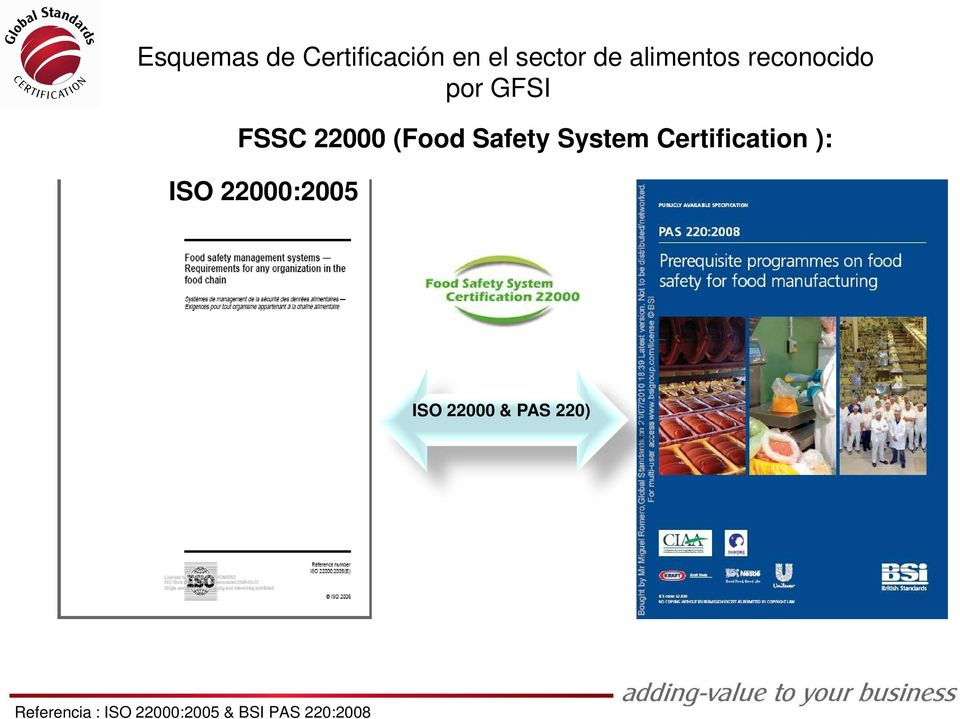 Safety System Certification ): ISO 22000:2005 ISO