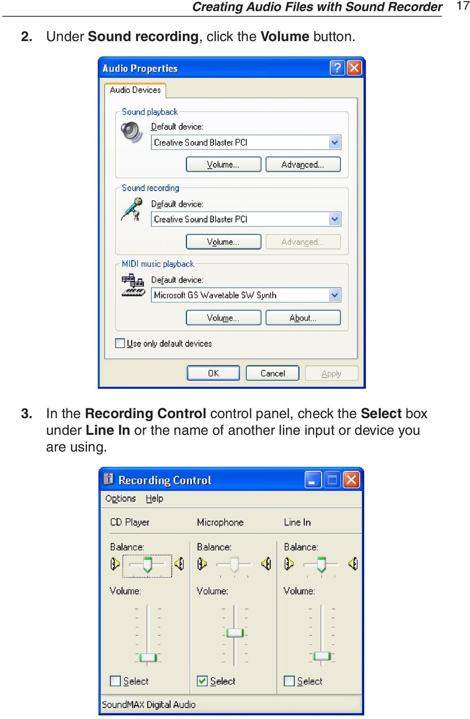 In the Recording Control control panel, check the Select
